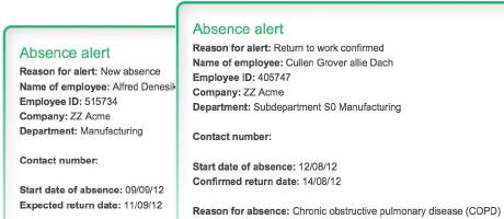 Engage automated absence notifications and alerts via email make absence management easy
