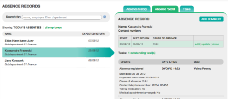 Online absence recording using Engage absence management