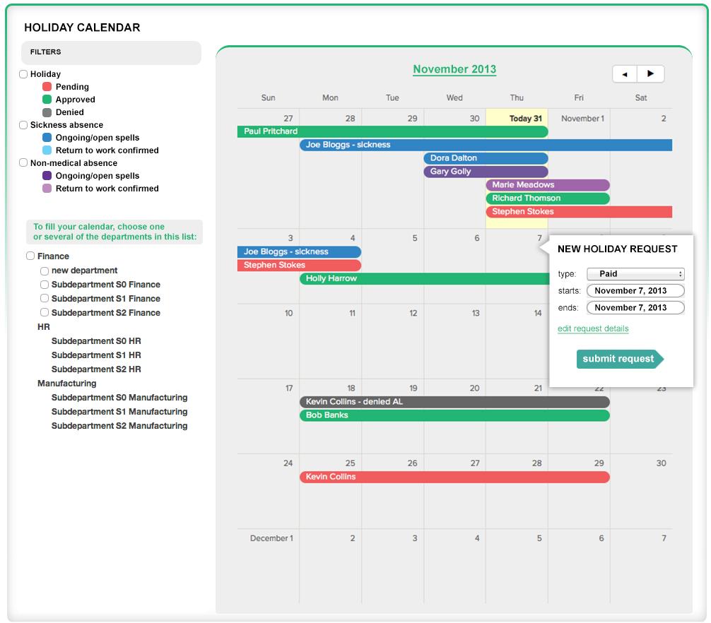 Holiday management calendar