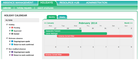 Engage Holiday Management tool