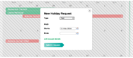 Engage easy online holiday requests
